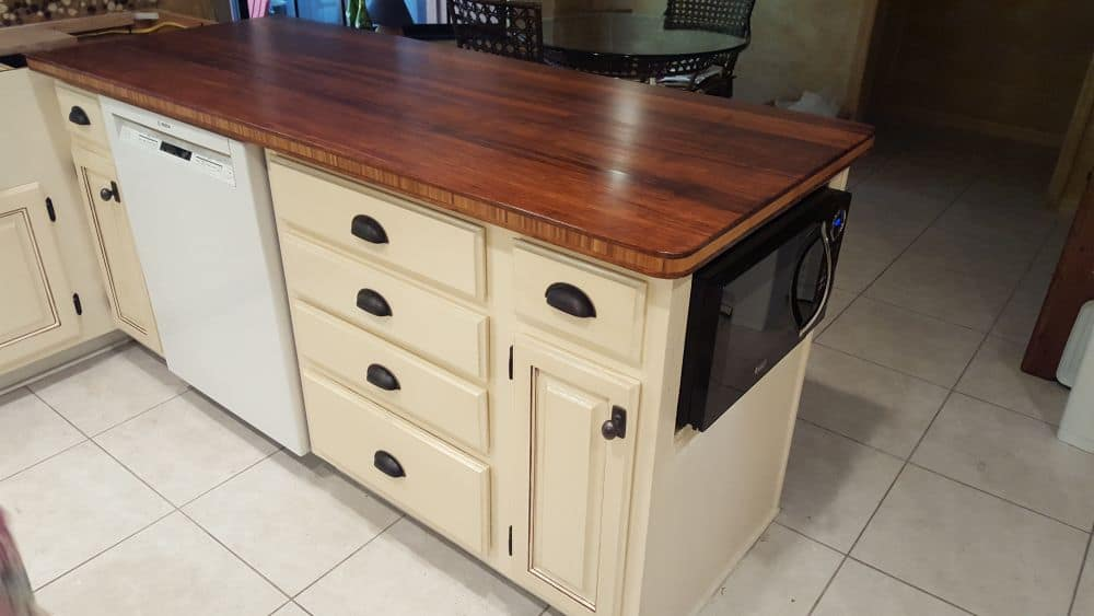 Countertopand cabinet after being resurfaced and refaced