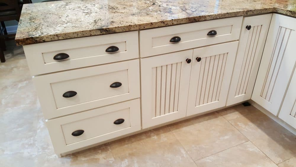 Refaced cabinets and resurfaced counter close up