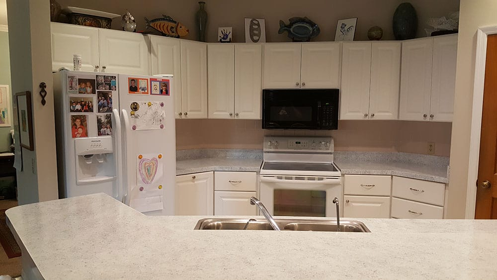 Updated kitchen cabinets and countertops