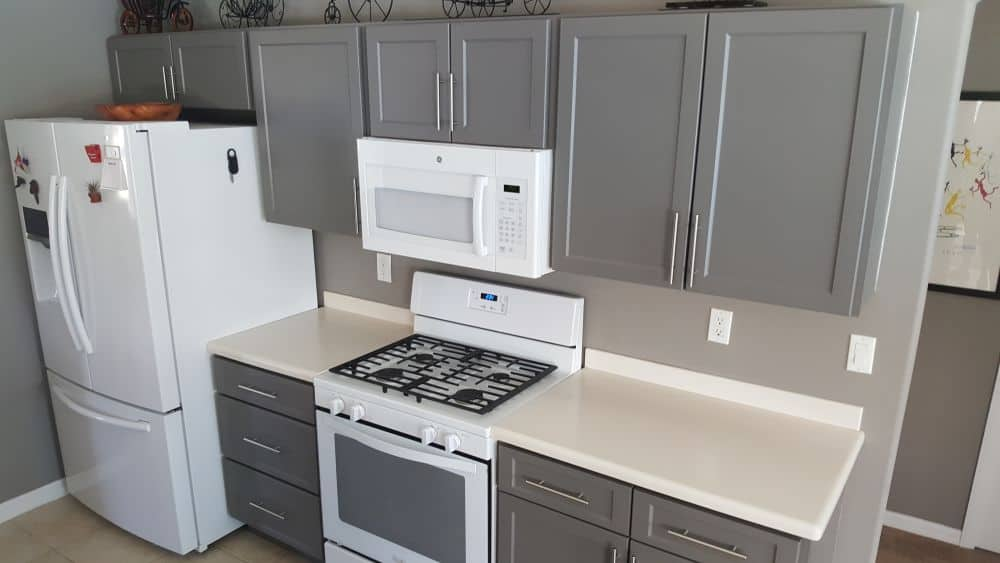 Wide shot of remodeled cabinets