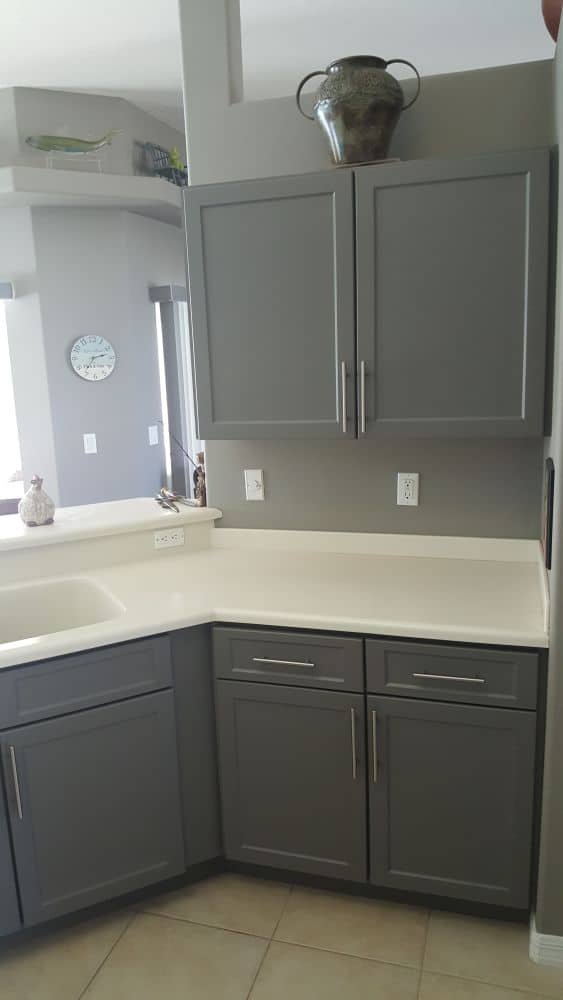 Remodeled cabinets with grey paint