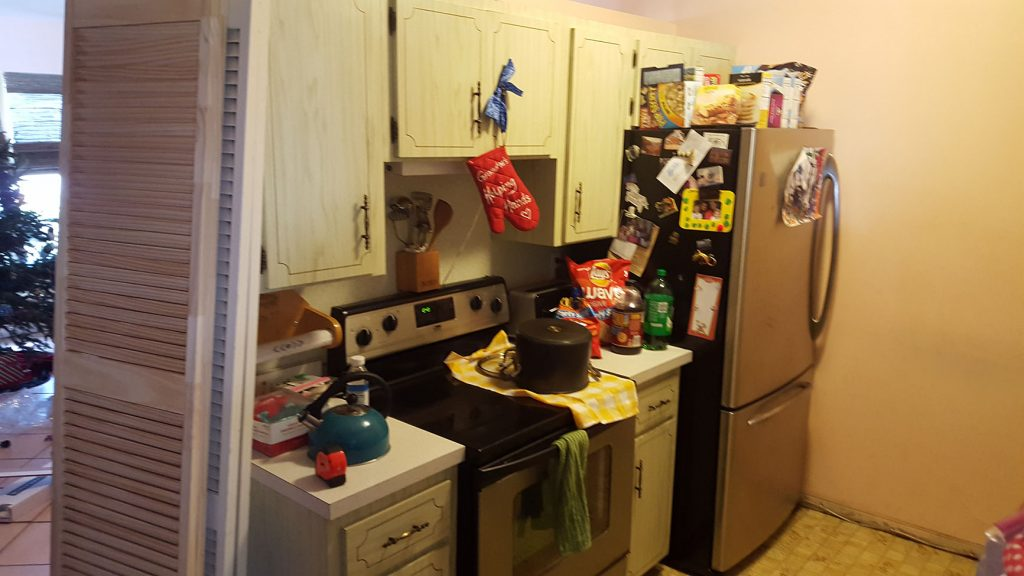 Messy kitchen before remodel