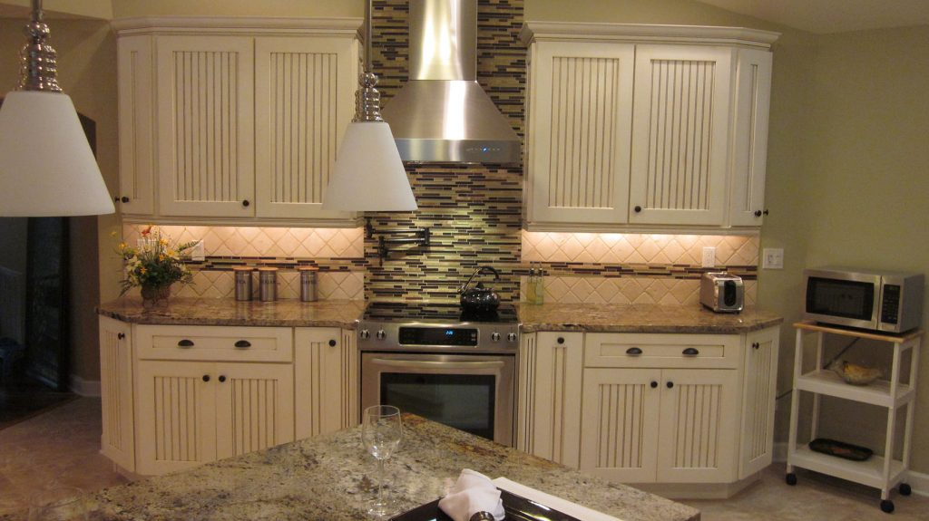 View of stove and counter after remodel