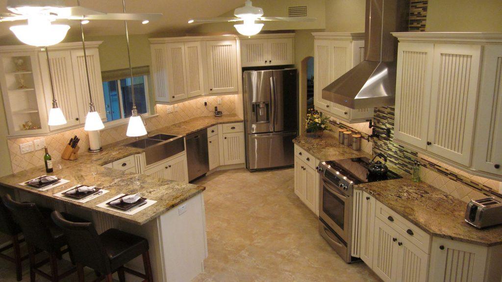Aerial view of kitchen after renovation