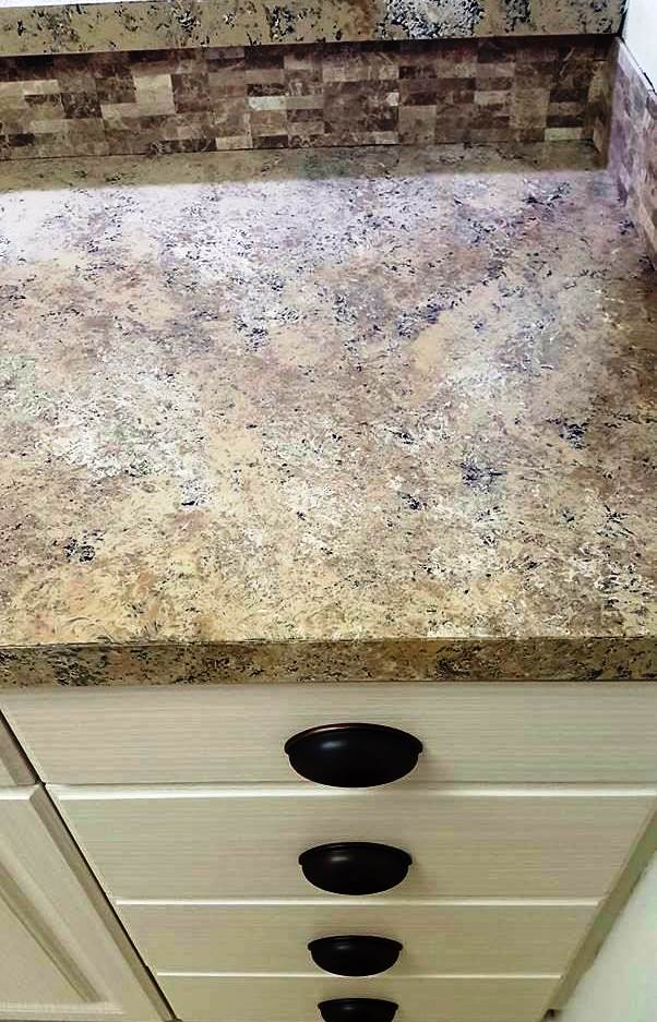 Close up of condo kitchen countertop