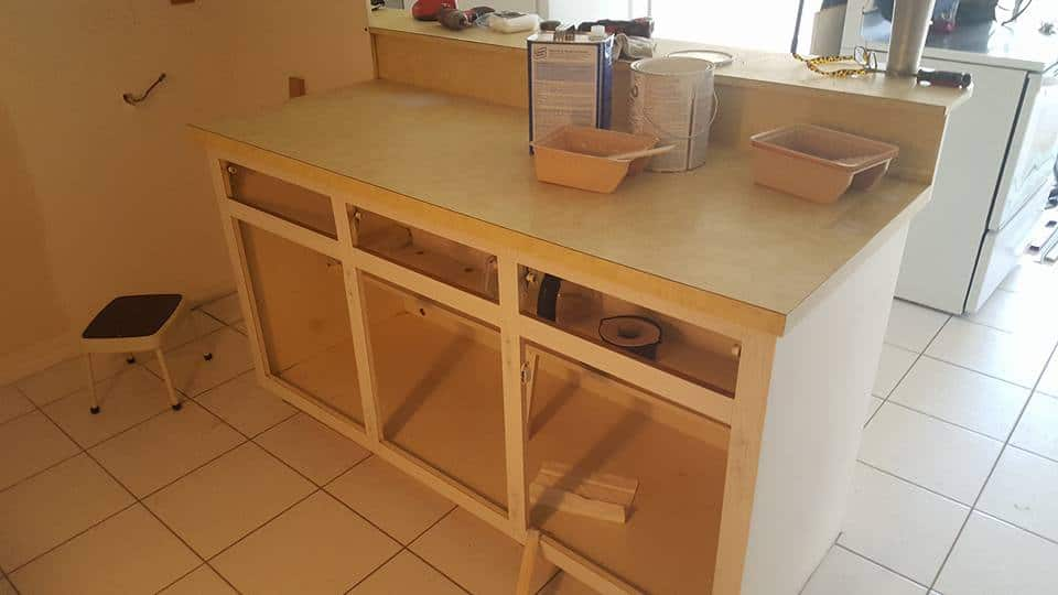 Cabinets being renovated