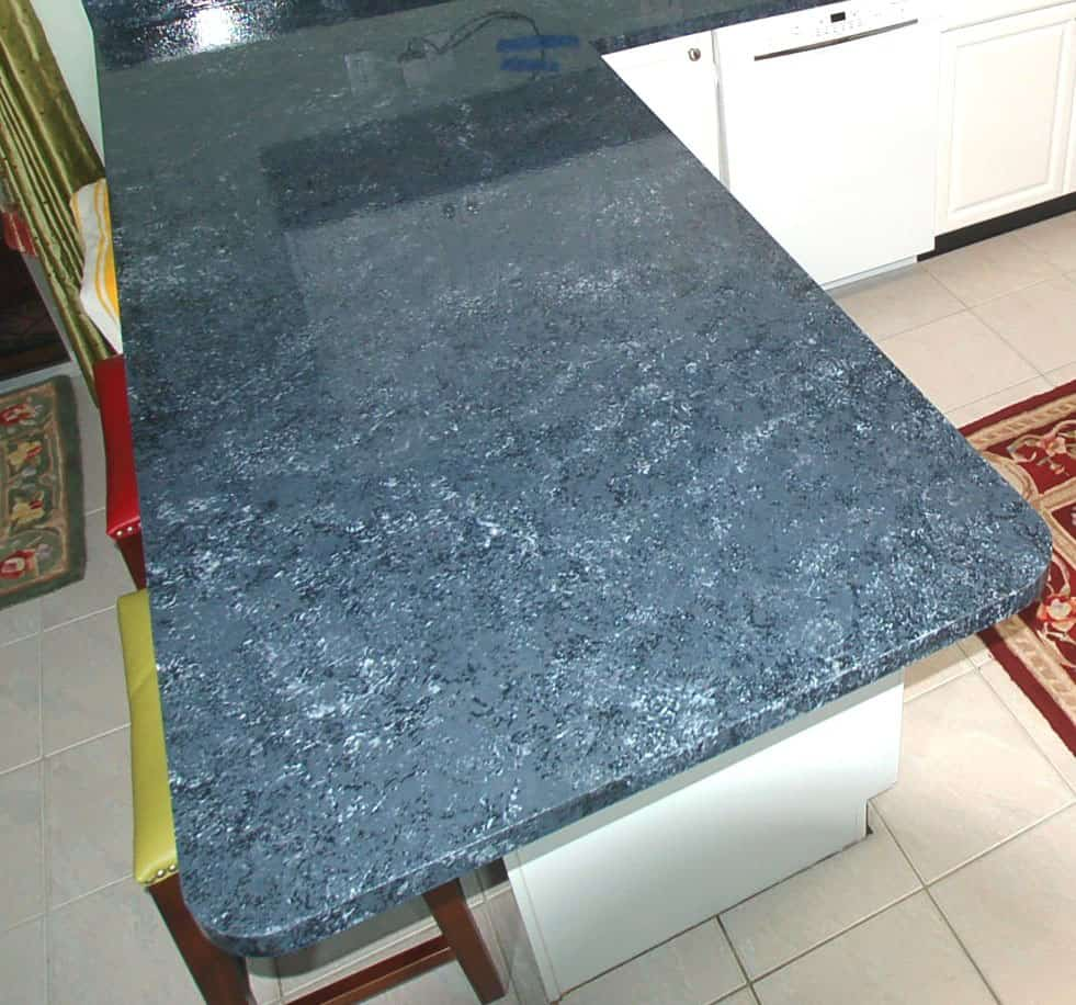 Close up view of renovated countertop