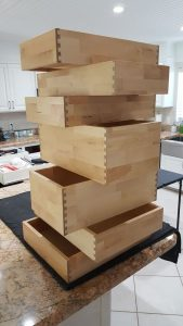 Stack of cabinet drawers