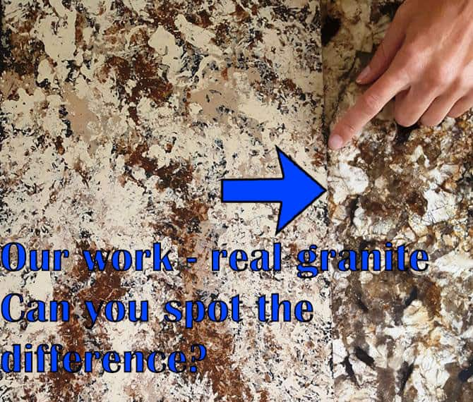 Comparison between granite and painted countertop