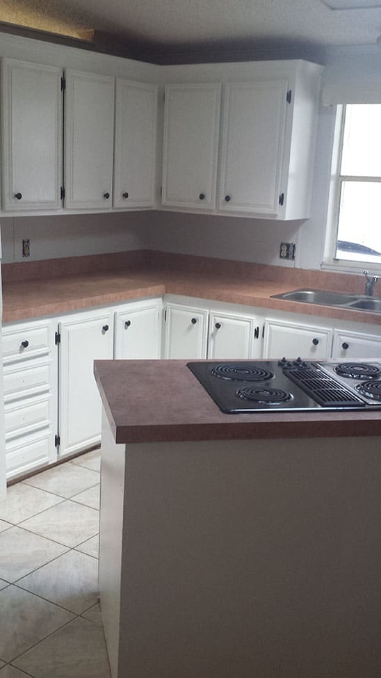 Clean kitchen with new cabinets and counters