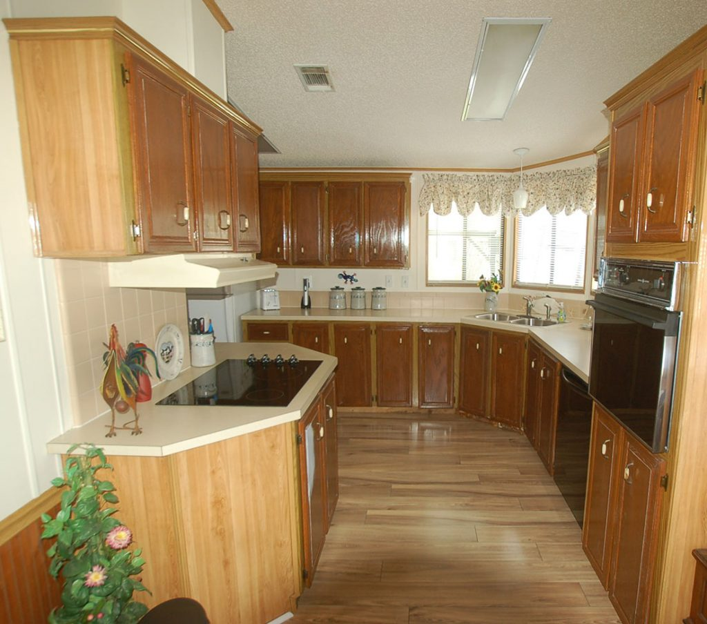 Kitchen with old brown cabinets